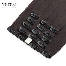 Neitsi 22'' 7Pcs/Set Straight Clip in Synthetic Hair ExtensionsM2-99J# bhf t1b 99j 16 18 20 22