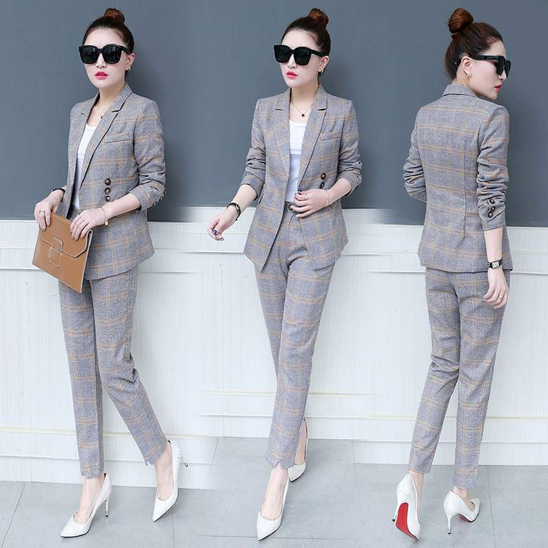 Spring and autumn womens new fashion plaid suit suit Korean single-breasted suit + nine pants temperament two-piece