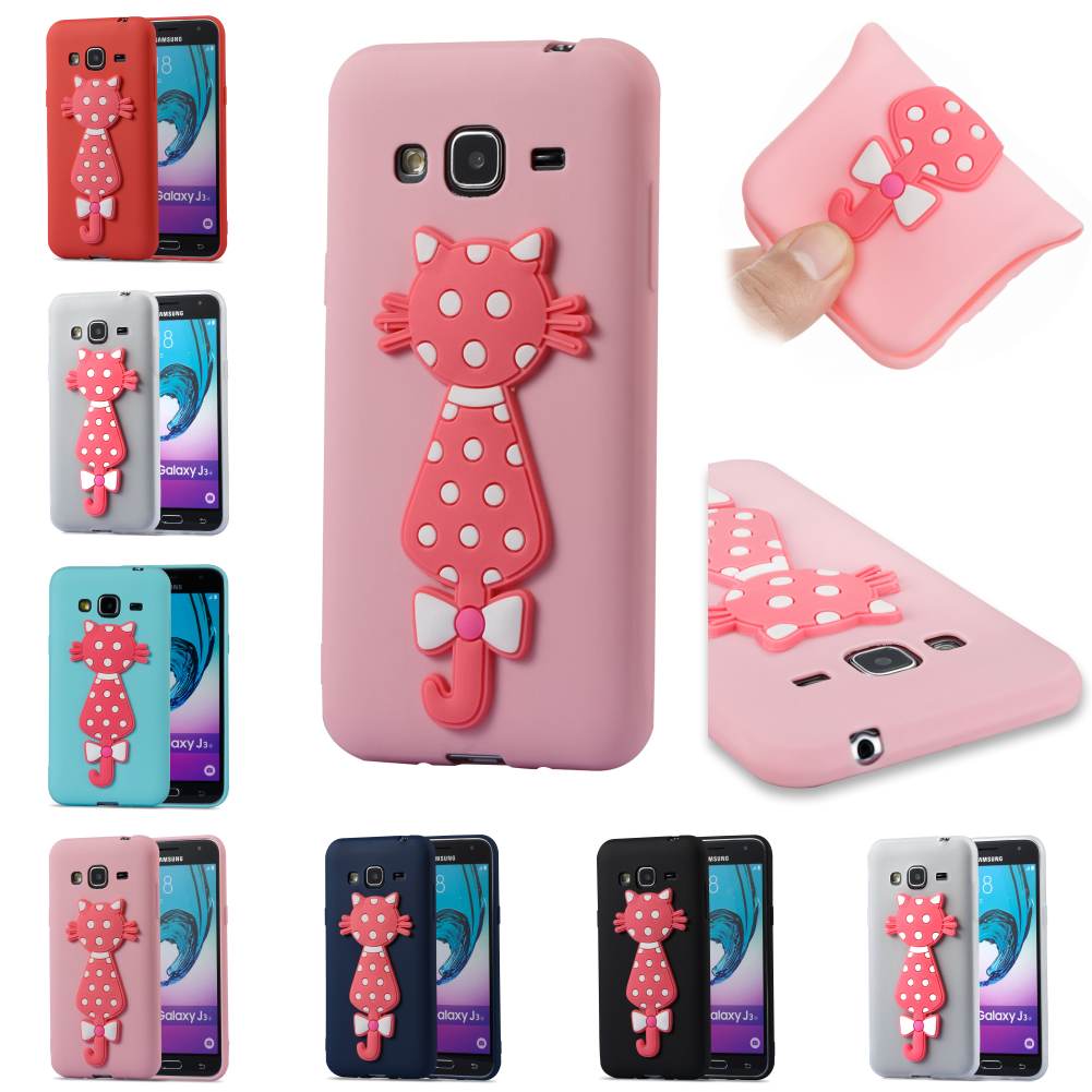 TPU Cartoon Cute 3D Cat Soft Kryty Shell Phone Case Cover For Samsung Sumsung Samsug Galax J3 2016 J 310