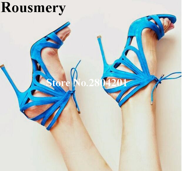 Rousmery New Stylish Sexy Strip Shoes Women Hollow Out Stiletto Thin Heel Ankle Strap Carved Navy Blue Red Lady Strappy Sandals sexy strappy hollow out printed maxi dress for women
