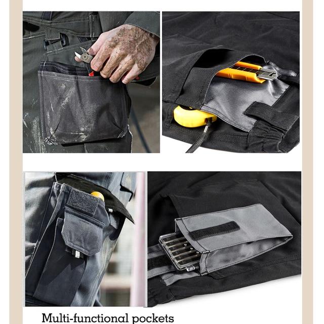 Men working pants multi-pockets wear-resistant worker mechanic cargo pants work wear trousers high quality machine repair pants 4