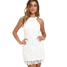 Berydress Womens Elegant Wedding Party Sexy Halter Neck Sleeveless Sheath Bodycon Lace Dress Short