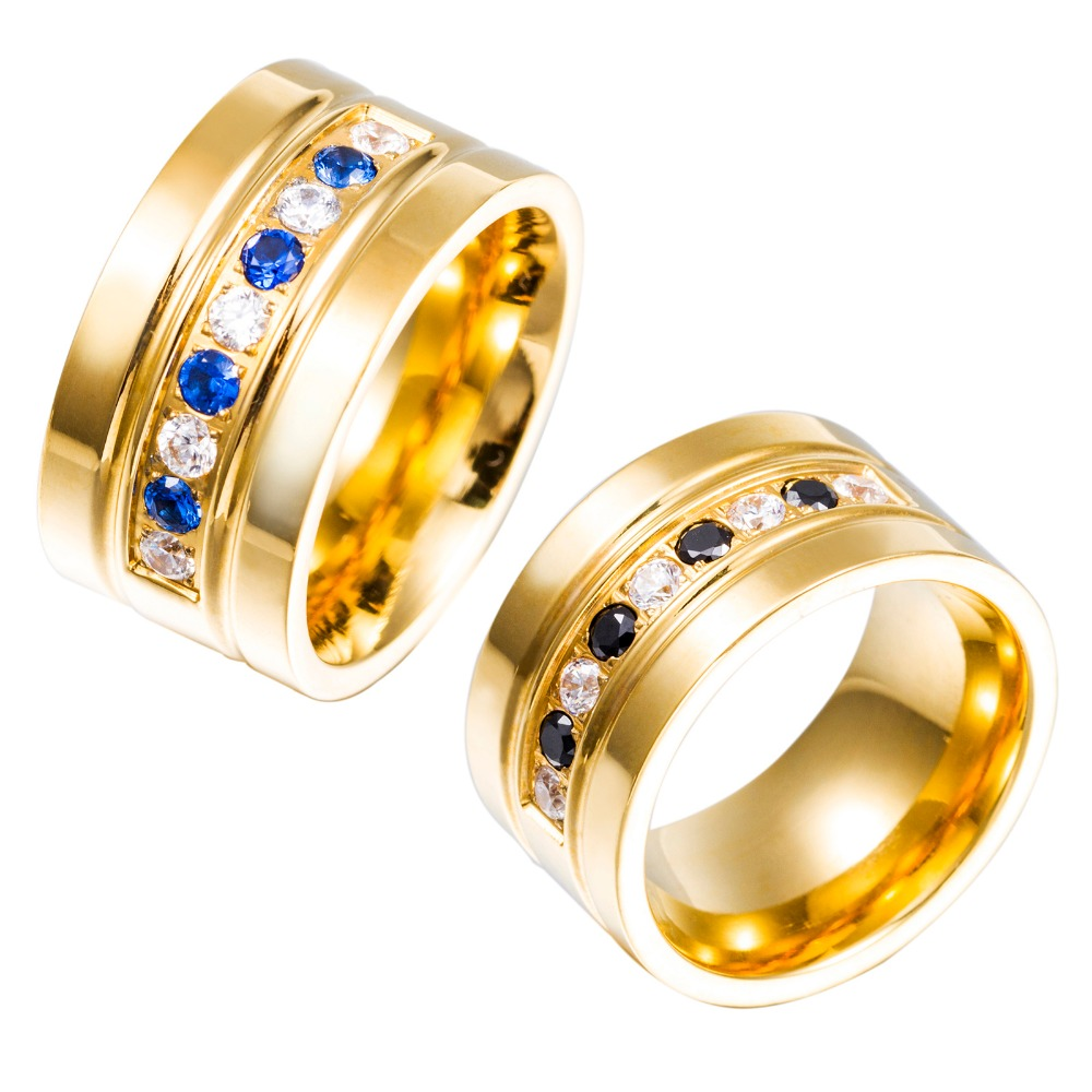 Women Arabic Gold Jewelry Ring With Blue Crystal Italian Stainless Steel Design 12mm Rings In From Accessories On