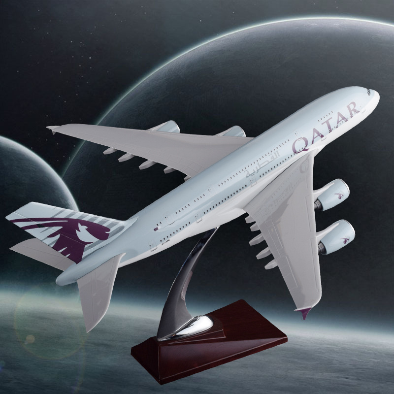 36cm A380 Qatar Airlines Airbus Model QATAR International Aviation Airways Resin Aircraft Model Airplane A380 Plane Model Gift 36cm resin a380 qatar airlines airbus model qatar international aviation airways aircraft model a380 airplane plane model toy
