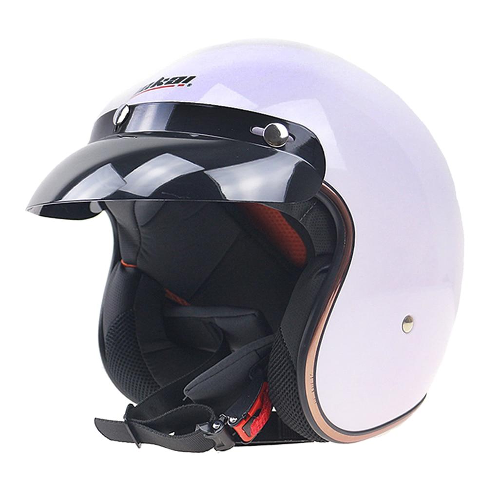 1 stück Weiß ABS Motorrad Open Face 3/4 Motorrad Retro Motocross Vintage Helm Sonne Schild Abdeckung L Typ 1