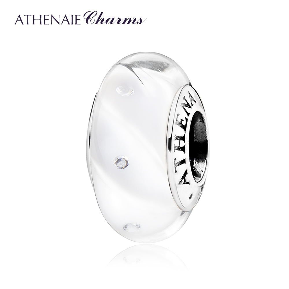 ATHENAIE Real 925 Sterling Silver Bead Clear CZ Shine White Waves Murano Glass Beads for Charms Bracelet Bangle Women DIY Jewelr