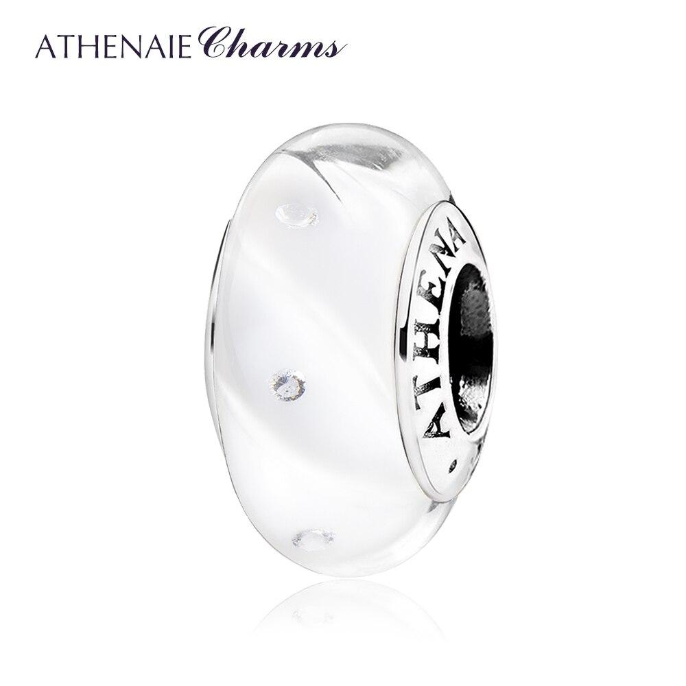 ATHENAIE plata esterlina 925 Bead clara CZ brillo blanco ondas Murano cuentas de vidrio para los encantos del brazalete de la pulsera de las mujeres DIY jewelr