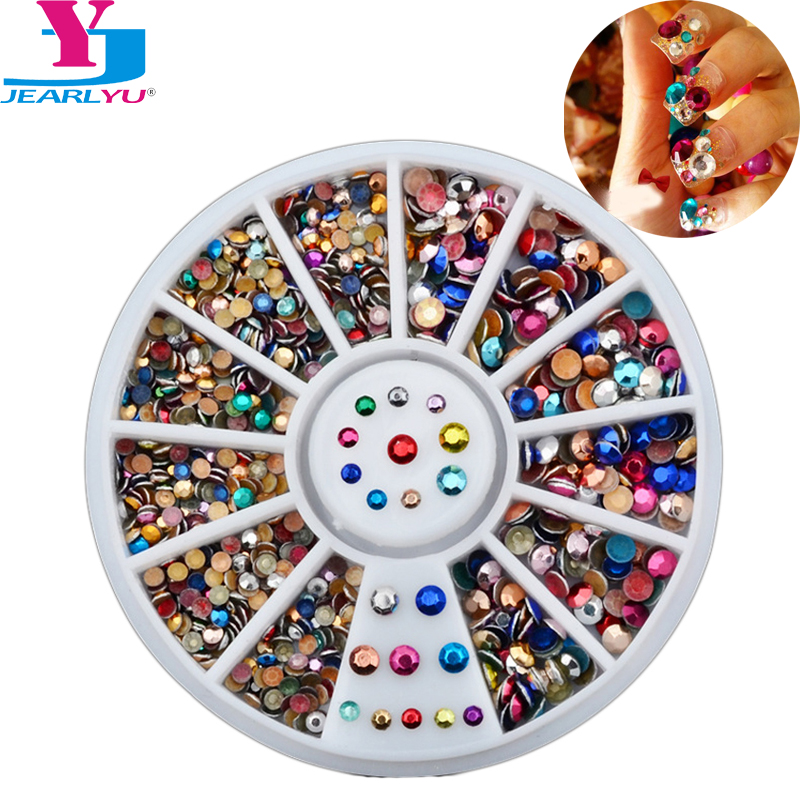 Colorful Steels Beads Studs For Nails Metal Decoration Round Stud UV Gel Polish Accessories 3D Nail Art Wheel Crystal Nails Kit
