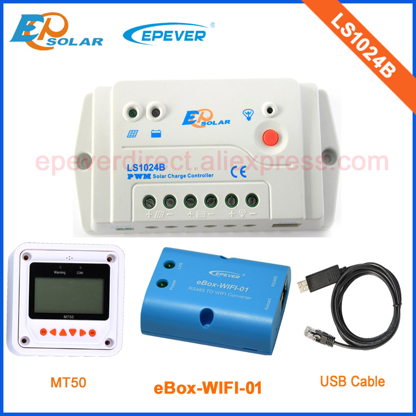Charger 12V Battery solar power bank 10A LS1024B controller Wifi box Android Phone APP MT50 Meter 24V battery auto work EPEVER charger battery 12v 24v auto work power bank controller tracer1215bn 10a solar tracer series mt50 meter and temp sensor cable