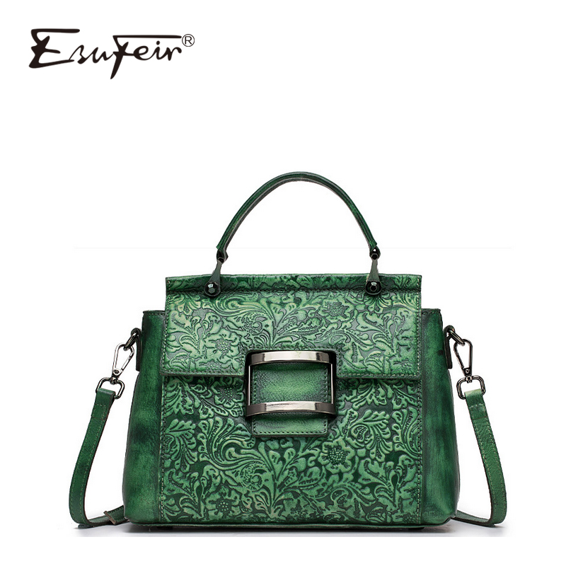New ESUFEIR Vintage Shoulder Bag Genuine Leather Women Handbag Embossed Top-handle bag for Women Messenger Bag Cover Casual Tote vintage style women s genuine leather handbag tote top cowhide shoulder bag clutch evening bag braided handle