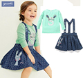 2017 korean kids clothes full slevee t-shirt+ Jeans Braces skirt 2PCS girls clothing rabbit dot print christmas costume for kids
