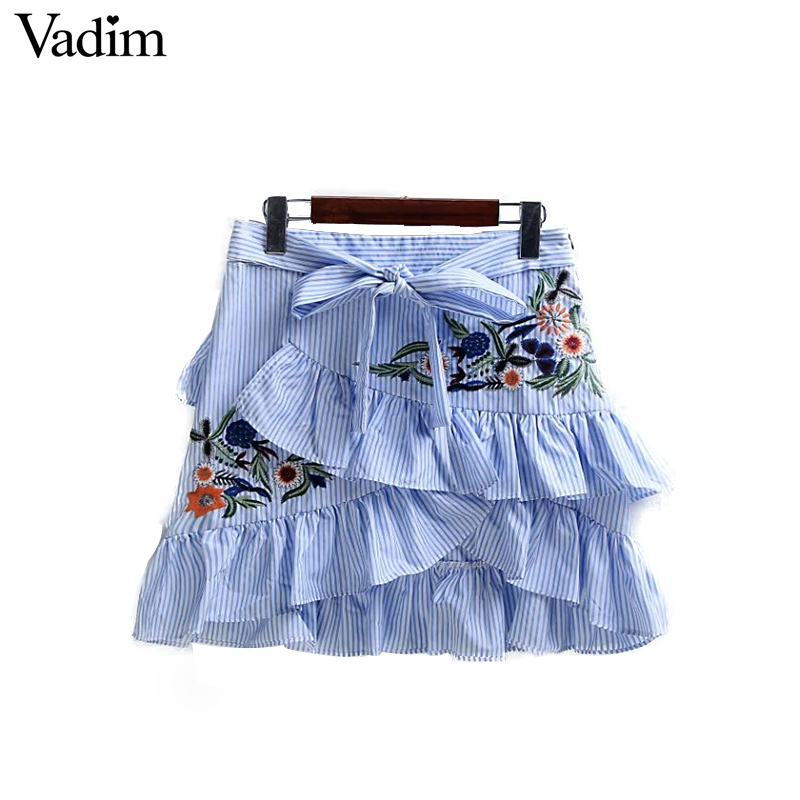 Women sweet ruffles flower embroidery striped skirts bow tie waist A-line side zipper ladies fashion casual mini skirt BSQ554