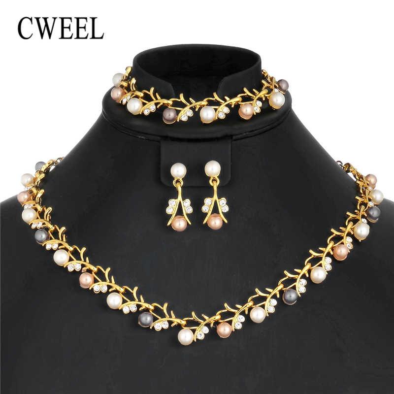 CWEEL Imitation Perle Schmuck Sets Türkische Silber Gold Farbe Schmuck Sets Für Frauen Hochzeit Afrikanische Perlen Schmuck Set