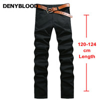 122 cm Extra Long Mens Stretch Chinos Pantalon Plus La Taille 28 ~ 44 Hommes Occasionnels Pantalon Droit Délavé Mâle Sergé pantalon Noir 760