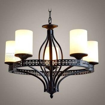 Personnaliser bref style chinois moderne fer noir verre lampe couverture 5 pendentif lumière