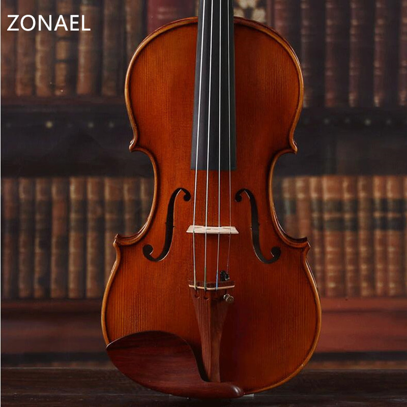 ZONAEL 4/4 Violin Professional Acoustic Basswood Fiddle with Violin Case Cover Bow for Musical QV311 electric spruce violin 1 4 violin handcraft violino musical instruments with pickup violin rosin case violin bow