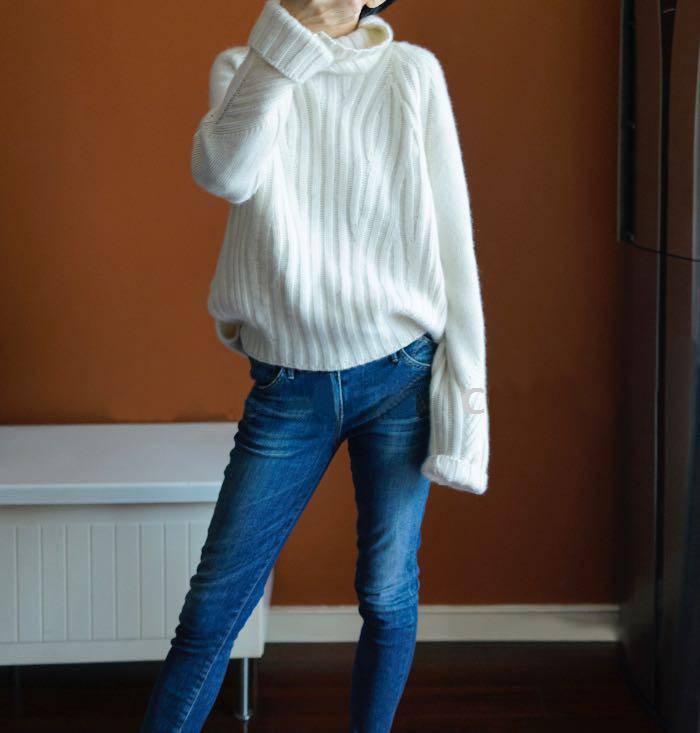 Loose Turtleneck Sweaters 100% Cashmere-Wool 4Color