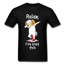 Dabbing Relax Goat Happy T Shirts Hiphop Funny Design New Tops & Tees Father Day Crewneck 100% Cotton High Quality Man Shirt