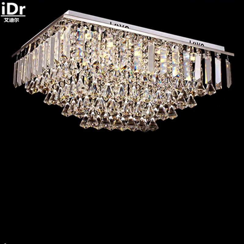luxury living room rectangular LED K9 Crystal high quality Meeting Room Hotel Lobby Bedroom lamp Hall Ceiling Lights