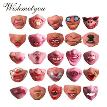 WISHMETYOU Halloween Mask latex Funny Weird Prank Clown Disguise Half Face Party Cosplay Terrible Decoration Tool