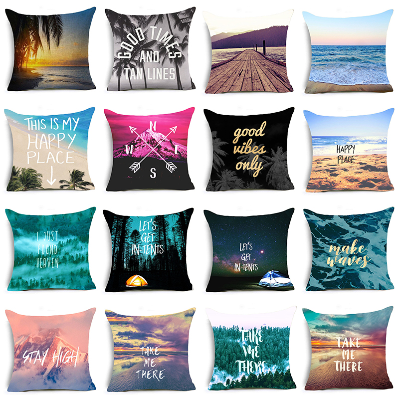 Hyha Letter Scenery Cushion Cover Beach Camping Compass Home Decorative  Pillows Cover For Sofa Happy Place