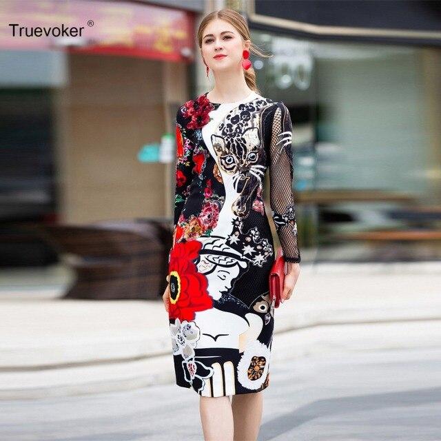Truevoker Designer Spring Dress Women s High Quality Long Sleeve Abstract  Printed Embroidery Cutout Knee Length Robe Femme Ete 596d4b3e0b6c