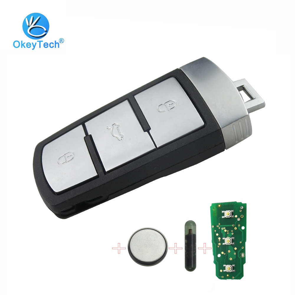 цена OkeyTech for VW Smart Remote Key 433Mhz with ID48 Glass Chip 3 Button Insert Blade for VW Passat B6 3C B7 VOLKSWAGEN CC Magotan