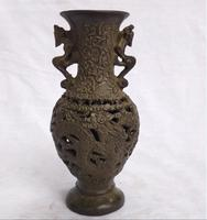 Antique collection chinese old bronze carved dragon vase home art decoration metal vase 002