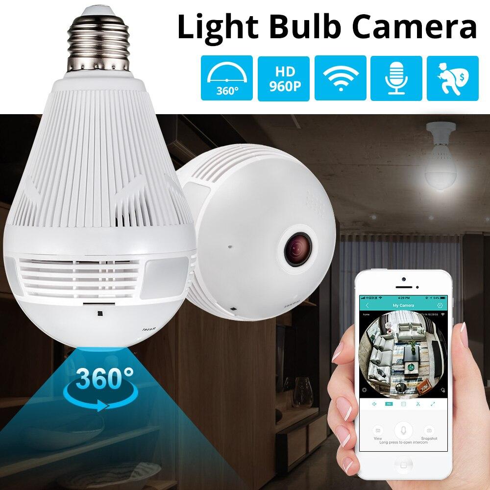KERUI LED luz 960 P inalámbrica panorámica de seguridad WiFi CCTV de ojo de pez bombilla lámpara IP cámara de 360 grados de seguridad ladrón