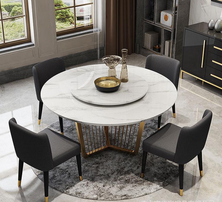 Stainless Steel Dinette Combination Simple Designer Creative Light Luxury Stainless Steel Rectangular Marble Dining Table