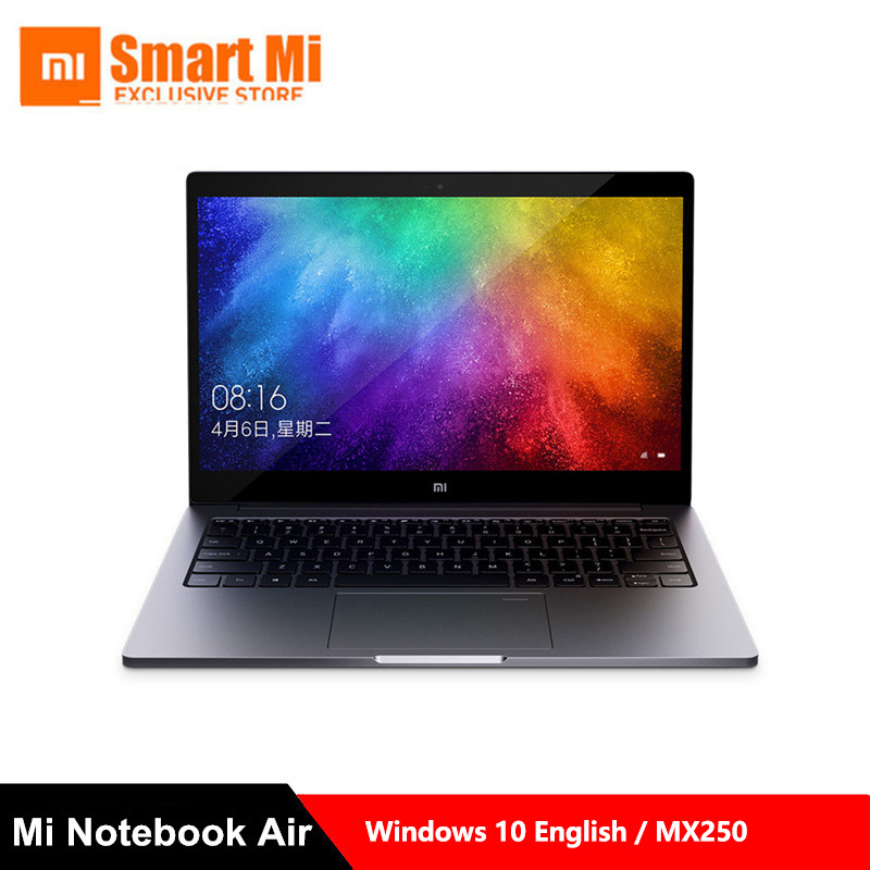 Xiaomi Mi Notebook Laptop Air 13.3 Inch English Win10 MX250 Dual Dedicated Card Intel i5/i7 8GB Ram 256GB SSD With Fingerprint(China)