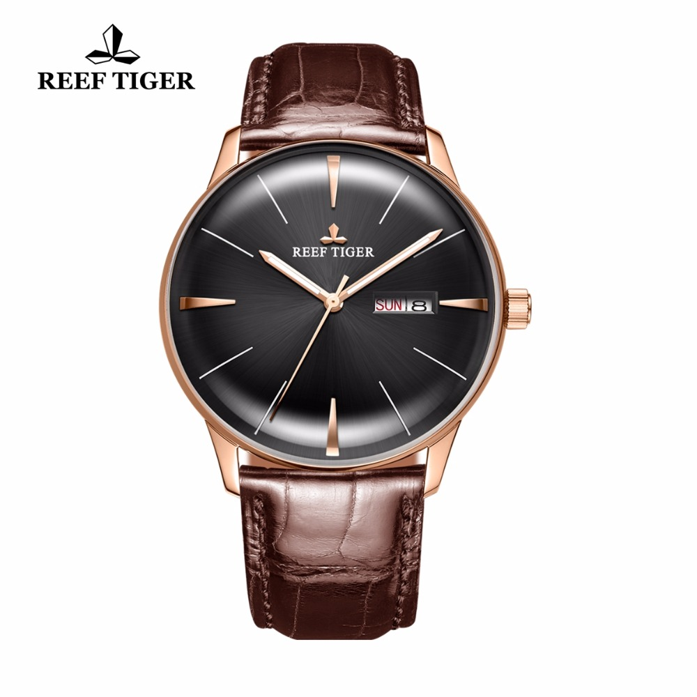 New Reef Tiger/RT Luxury Dress Watches Men's Automatic Watches Convex Lens Watches Brown Leather Strap RGA8238 yn e3 rt ttl radio trigger speedlite transmitter as st e3 rt for canon 600ex rt new arrival