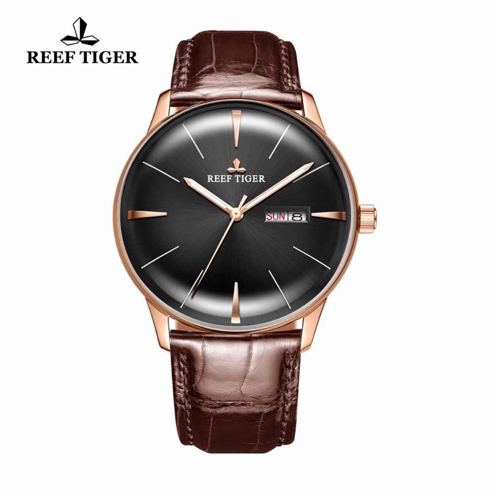 חדש שונית טייגר/RT יוקרה שמלת שעוני גברים של שעונים אוטומטיים קמור עדשה שעונים חום עור רצועת RGA8238