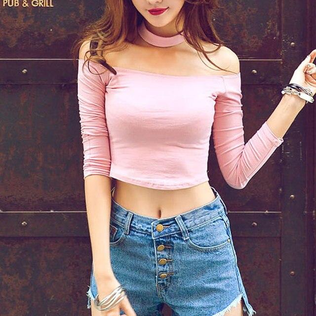 1cd8dc81c9070 Nightclub Wear Long Sleeve Black Pink white Crop Top Choker O Neck ...
