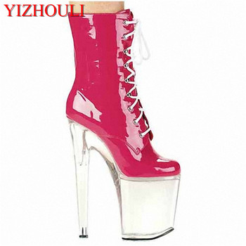 20 cm of elegant chic transparent sole, high heel women ankle boots 8 inches heel boots image