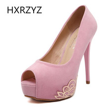 Brand HXRZYZ spring/Summer platform sexy peep toe 12.5cm super high heels fashion thin heel Slip-On pumps with Totem shoes women