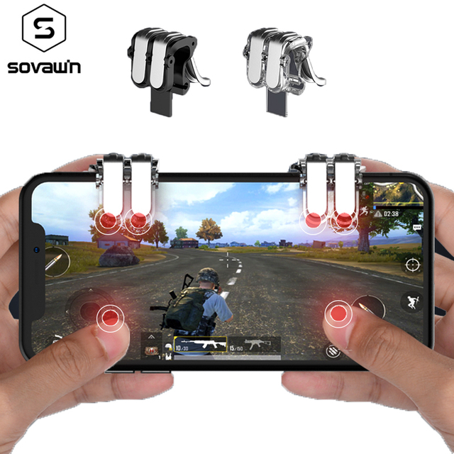 Mobile Phone Gaming Trigger Fire Button Aim Key Button L1 R1 Shooter Controller For PUBG Six-finger Linkage For Smartphone 4-7′