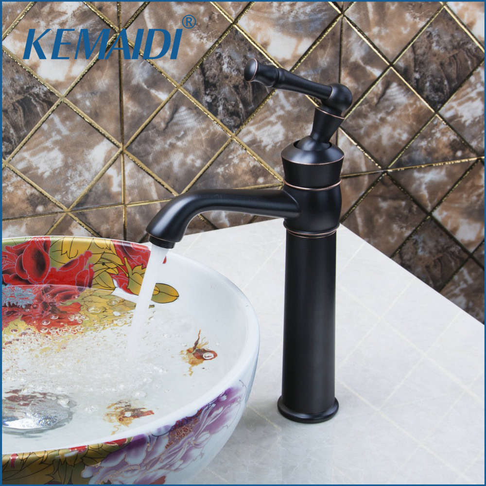 KEMAIDI  97143 Oil Rubbed Bronze Europe Style Bathroom Wash Basin Sink Single Handle Vessel Cold/Hot Mixer Water Faucets Tap