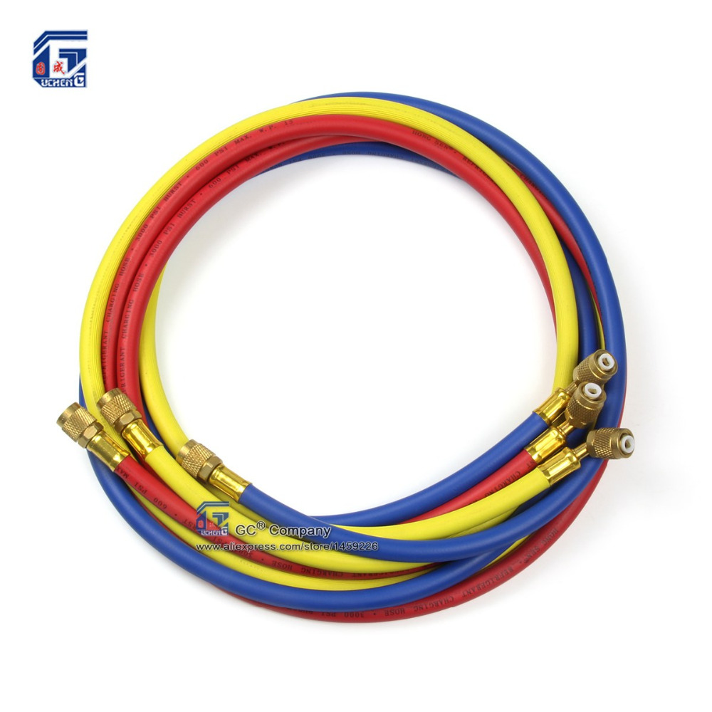 36'' ( 0 9 meter ) 1/4'' SAE R12 R22 R134a R502 404A Refrigerant Freon  Charging Hose for Air Conditioning System Car-styling