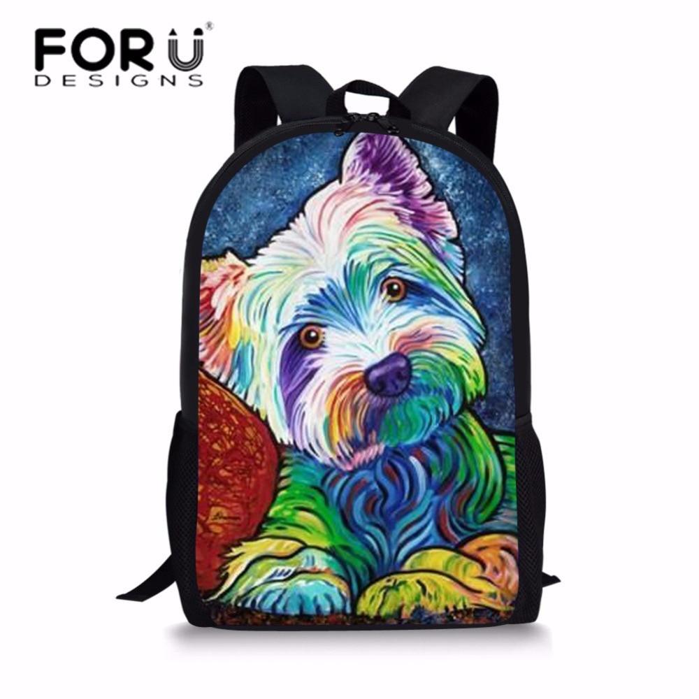 FORUDESIGNS Children Backpacks Oil Painting Yorkshire Terrier Printing School Bags for Kids Fashion Bagpacks Satchel