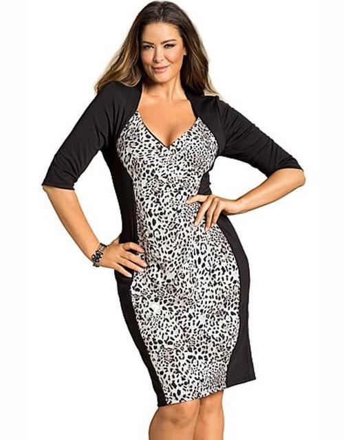 US $12.29 18% OFF Fashion Woman Leopard Midi Short Sleeve Loose XXL Dresses  Plus Size Knee Length V Neck Spandex Female Clothing Robe-in Dresses from  ...