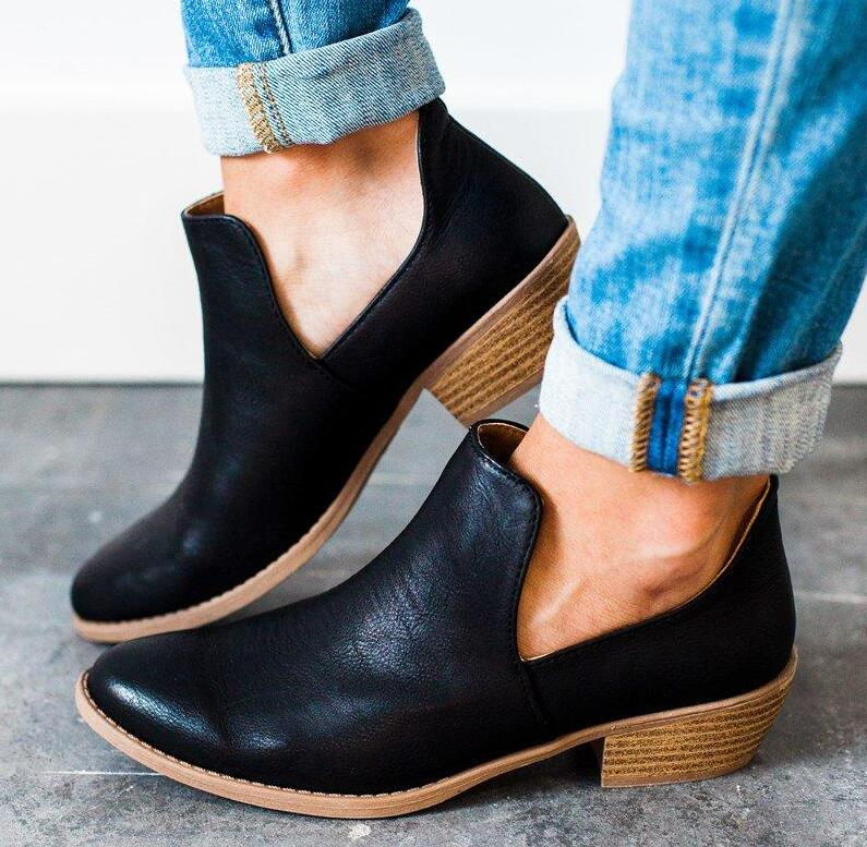 women ankle boots shoes woman chunky low heels vintage PU girls autumn slip-on rome booties zapatos mujer sapato feminino A11112