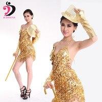 Костюмы для латиноамериканских танцев платье для танцев Для женщин кисточкой костюмы цвета: золотистый, серебристый зеленый красный Костю...