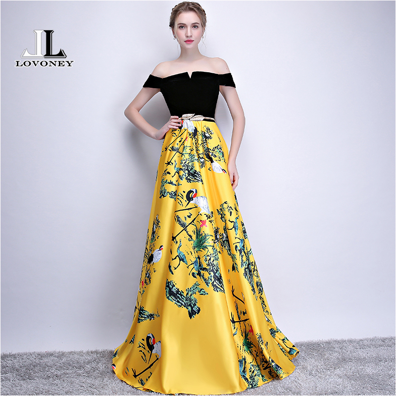 LOVONEY Flower Pattern Evening Dress Long Vintage Prom Party Dresses Evening Gown Women Formal Occasion Dress Floor Length YS402