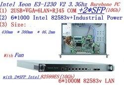 أجهزة التوجيه الوصول العالمي 1U جدار الحماية هيكلى الكمبيوتر 2 * SFP 10Gb مع إنتل 6*82583 فولت جيجابت lan Inte رباعية النواة Xeon E3-1230 V2 3.3G