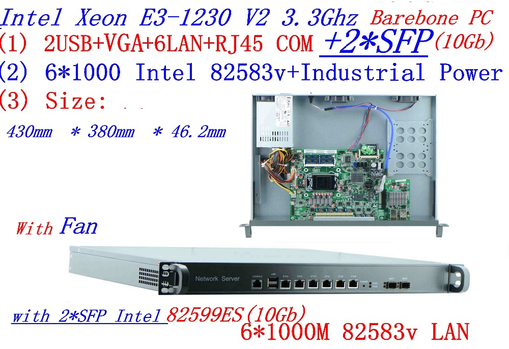 Universal Access Routers 1U Firewall Barebone PC 2*SFP 10Gb With Intel  6*82583v Gigabit Lan Inte Quad Core Xeon E3-1230 V2 3.3G