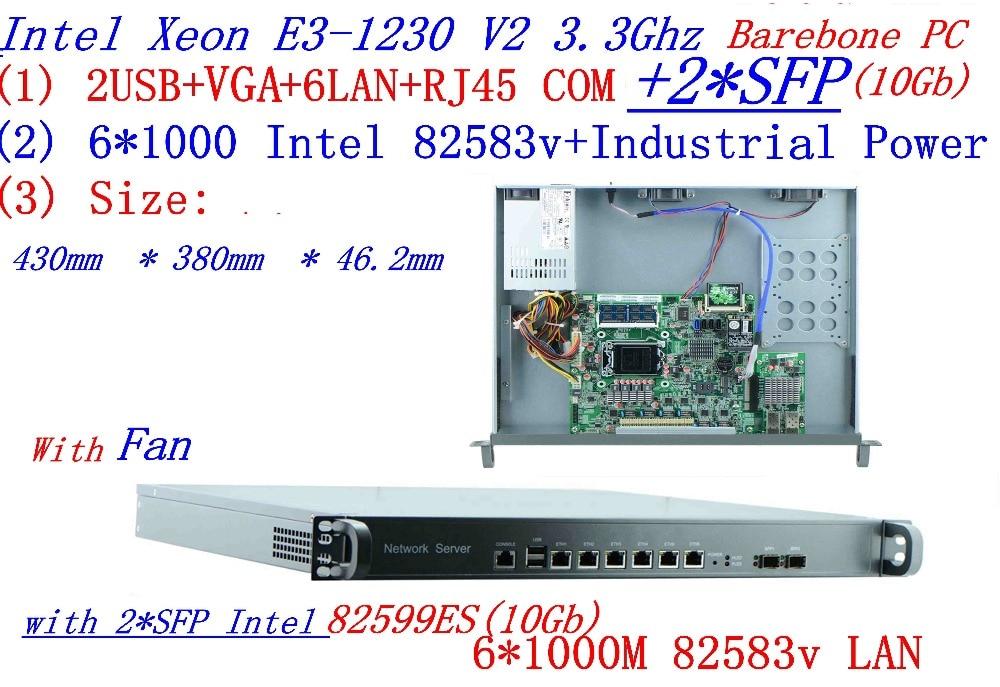 Universal Access Routers 1U Firewall Barebone PC 2*SFP 10Gb With Intel  6*82583v Gigabit Lan Inte Quad Core Xeon E3-1230 V2 3.3G