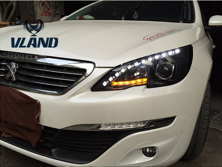 Free shipping vland factory for peugeot 408 2014 2015 2016 LED headlight HID with Daytime running light headlamp free shipping vland factory for mitsubishis 2013 2014 2015 pajero sport drl led daytime running light with turn lights