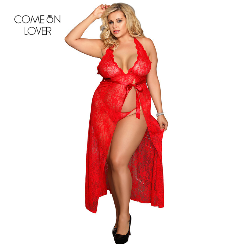 d6d1af7f49ef3 US $11.26 48% OFF|Comeonlover Free Shipping Dress Simple Vestidos Verano  Plus Size Dress RT80337 Red Sexy Ankle Length V Neck Backless Lace Dress-in  ...