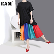 [EAM] 2019 New Spring Summer Round Neck Short Sleeve Black Hem Ruffles Pleated Colorful Hem Big Size Dress Women Fashion JW990 army green oversized round neck pleated hem mini dress